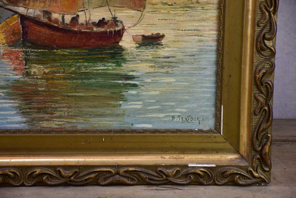 "Late 19th Century oil painting of a sail boat in Antibes 26"" x 30"""