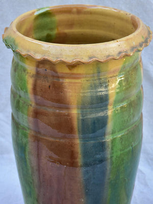 RESERVED Early 20th century Castelnaudary pot with brown, green, blue and yellow glaze 17¾""