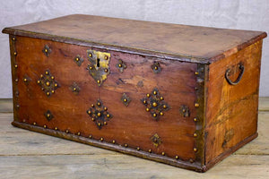 18th Century French travelling trunk with copper decoration