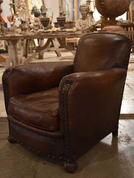 Dark French Leather Studded Club Chair Clout 233 Chez Pluie