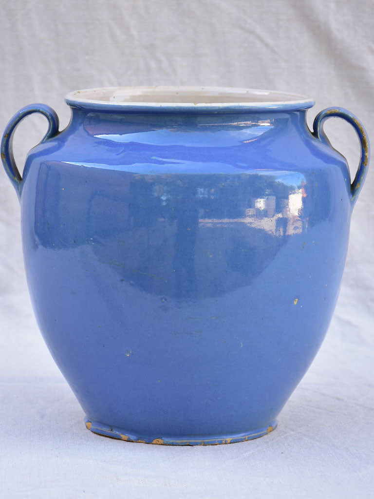 Early 20th century French preserving pot with blue glaze - Martres-Tolosane 9""