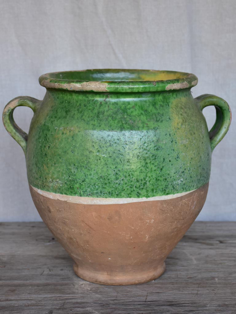 Antique French confit pot with green glaze 11""