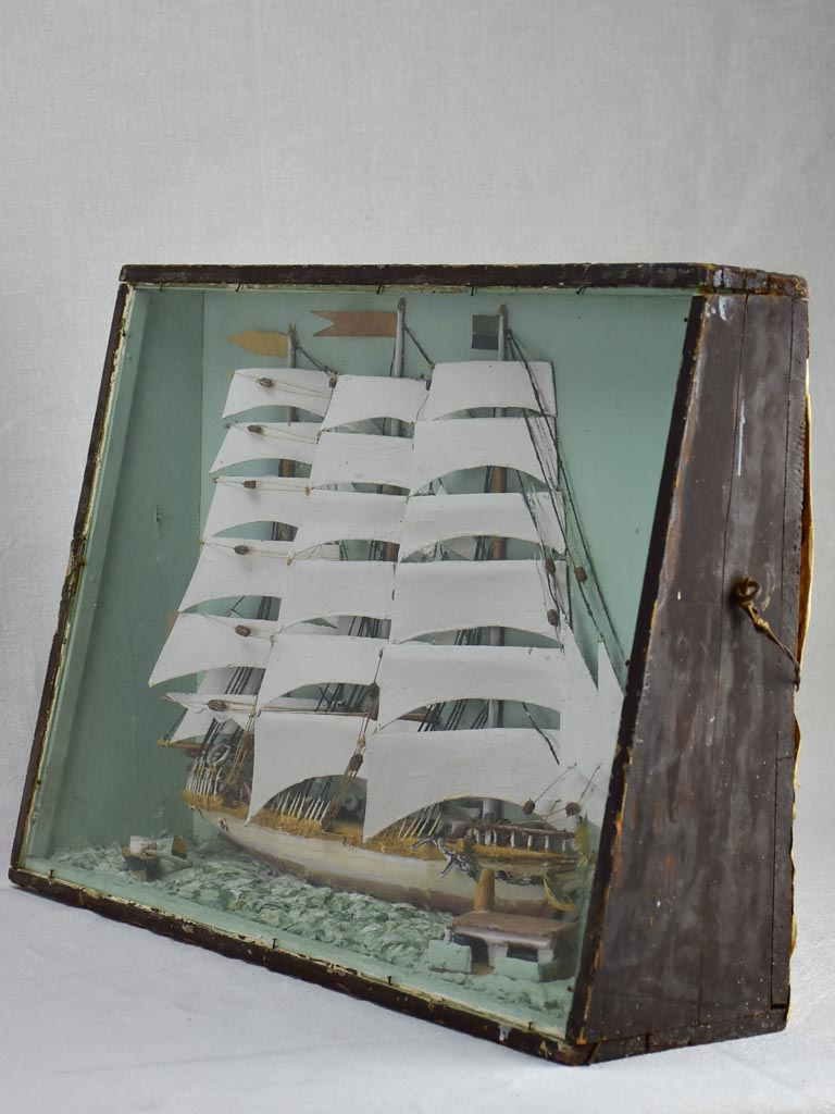 "19th Century French model boat presented in glass and timber case 21¼"" x 15¼"""