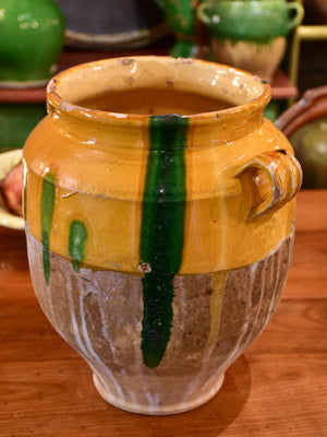 Large antique French confit pot with orange glaze