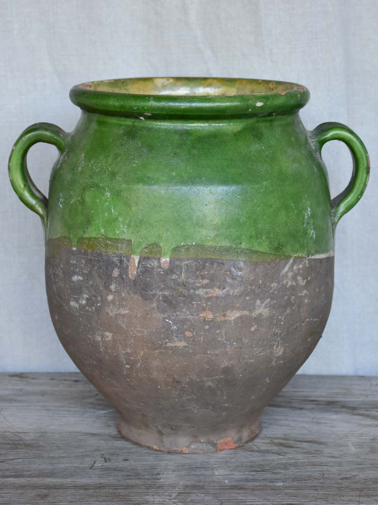 Large antique French confit pot with green glaze 11¾""