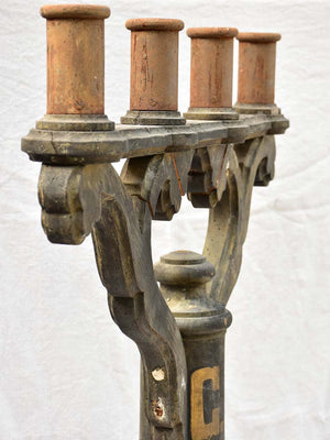 Napoleon III candelabra carved wood with four candleholders monogrammed CB 41""""