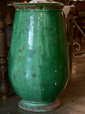 Tall French olive jar with green glaze