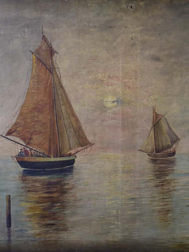 "Late 19th Century oil painting of sailing boats 36¼"" x 45"""
