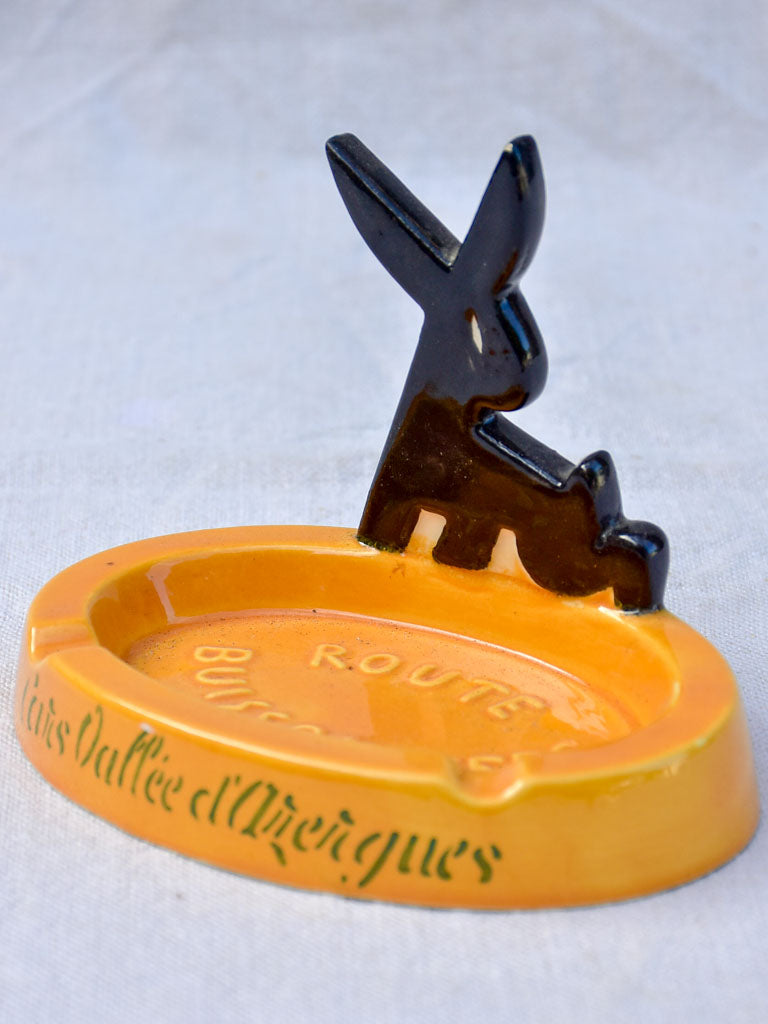 Mid century French ashtray with black rabbit - Route Buissonniere
