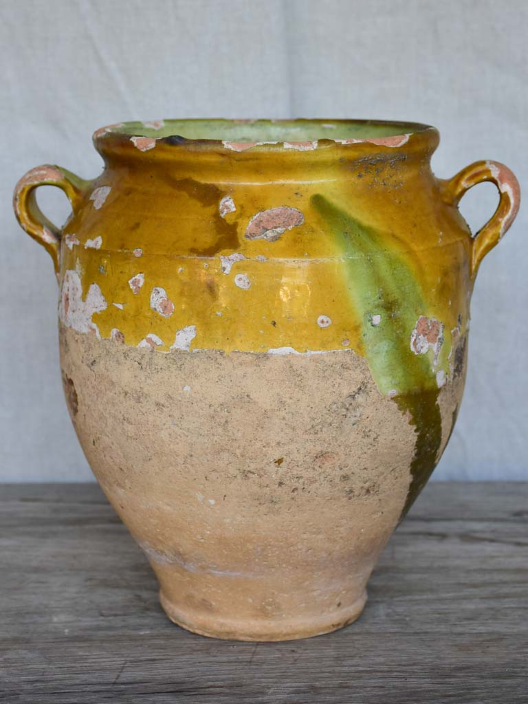 Late 19th / early 20th Century French confit pot with ochre glaze 10¾""