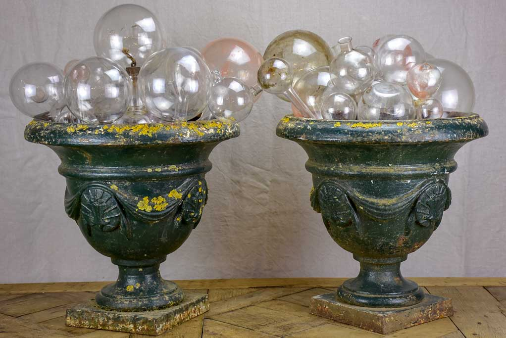 Pair of 19th Century French cast iron garden urns with dark green patina 19""