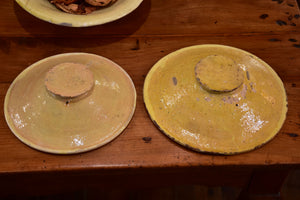 Collection of three antique verre omelette plates