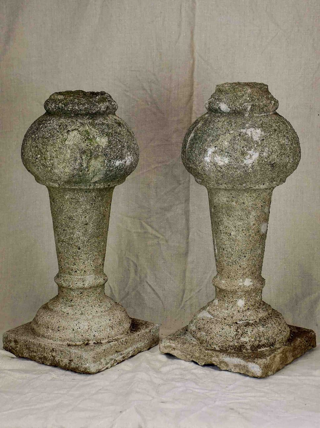 Pair of carved stone balusters