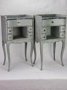 Pair of antique French Louis XV style nightstands with blue / gray patina