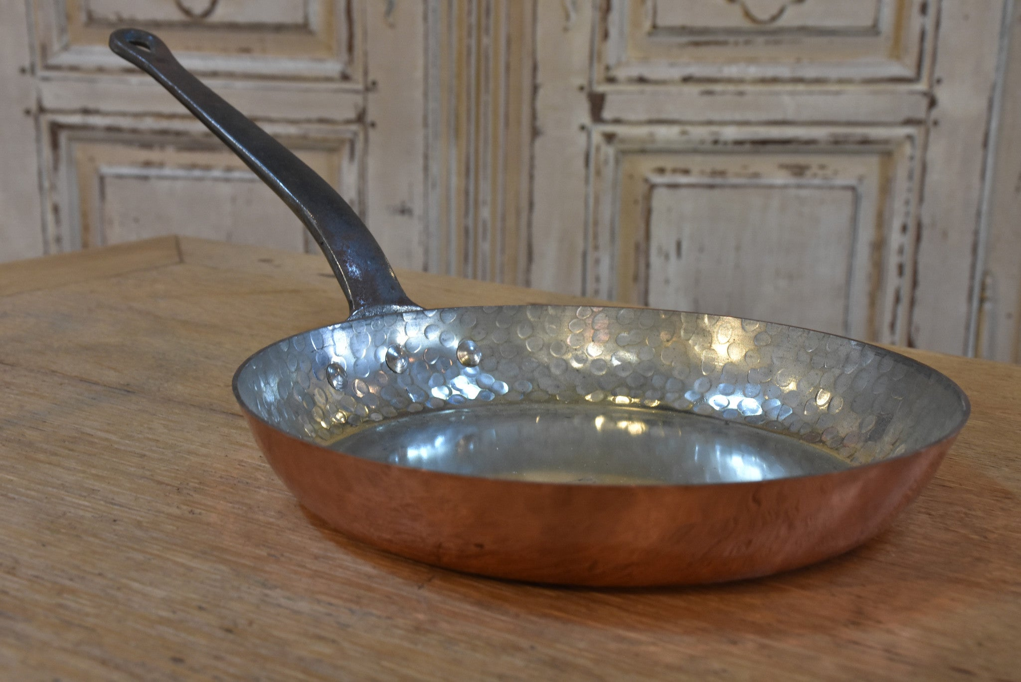 Set of French copper saucepans and frypans - 7 pieces
