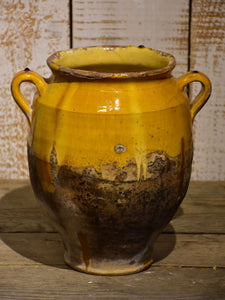 19th century French confit pot with orange glaze