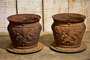 Pair of antique French cast iron planters / pot stands