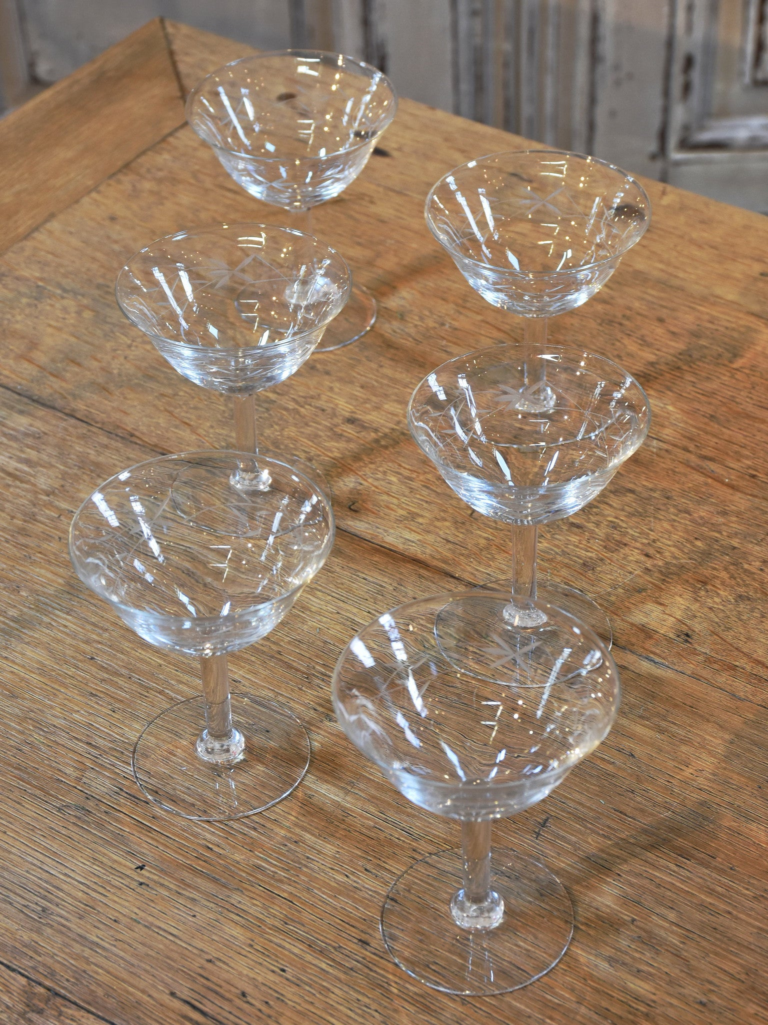Set of six vintage French crystal champagne glasses – 1950's