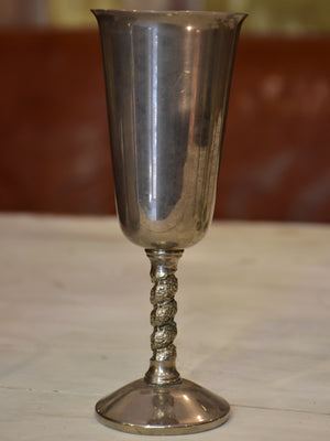 Six vintage pewter champagne glasses