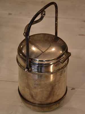 Vintage French ice bucket with insulating glass liner
