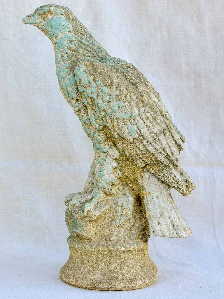 Mid century French eagle sculpture with blue gray patina 15""