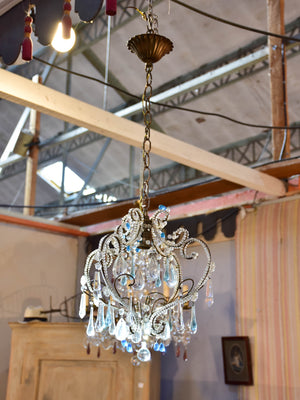Small French chandelier with blue droplets