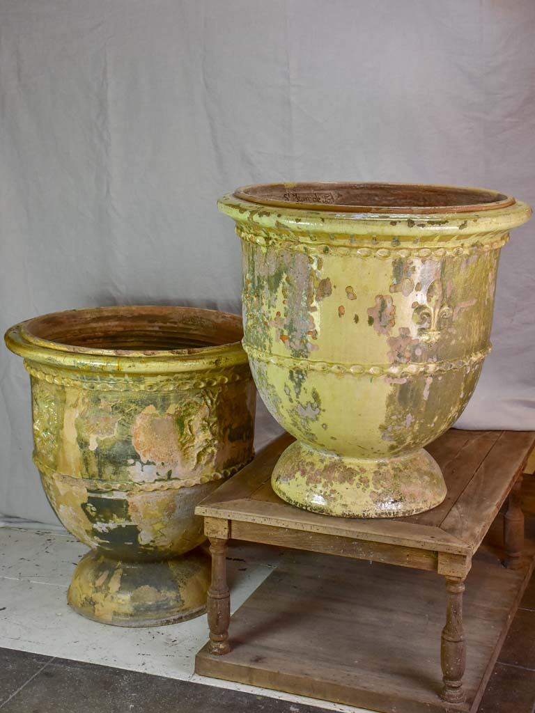 Two very large French garden urns from Saint-Jean-de-Fos. 1950's.  30¾""