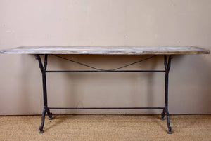 Antique French bistro table with oak top and cast iron base
