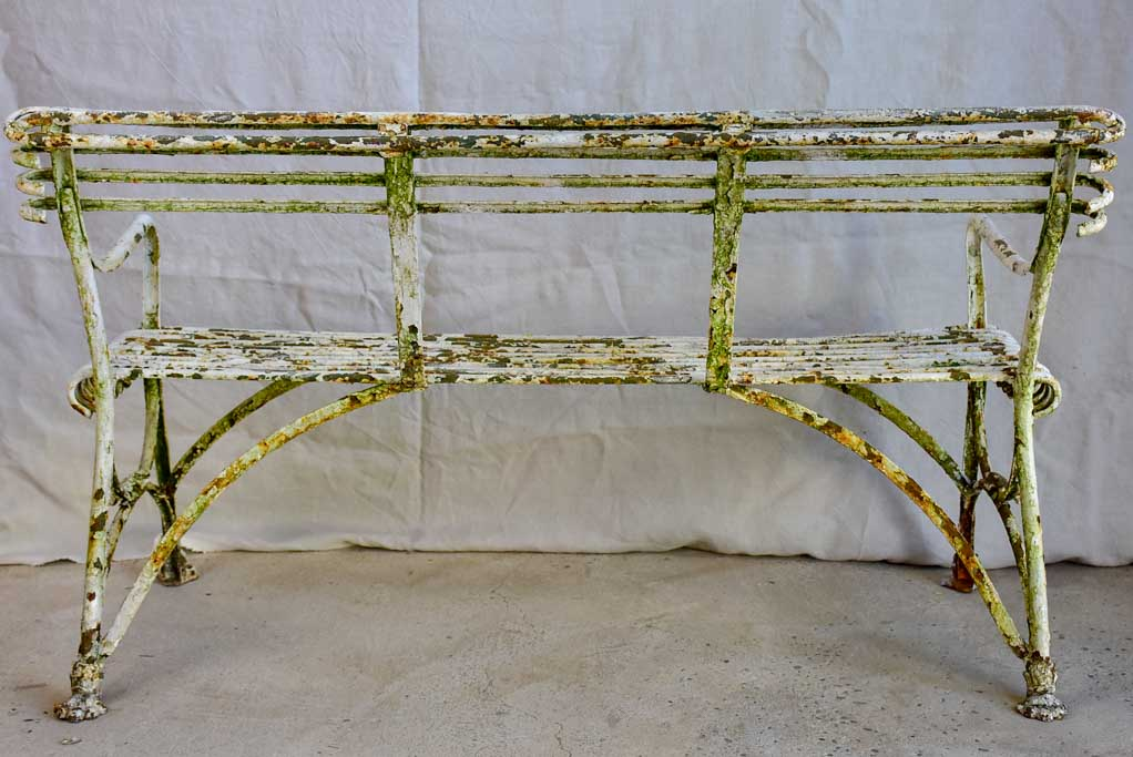 Late 19th Century French Arras garden bench with claw feet