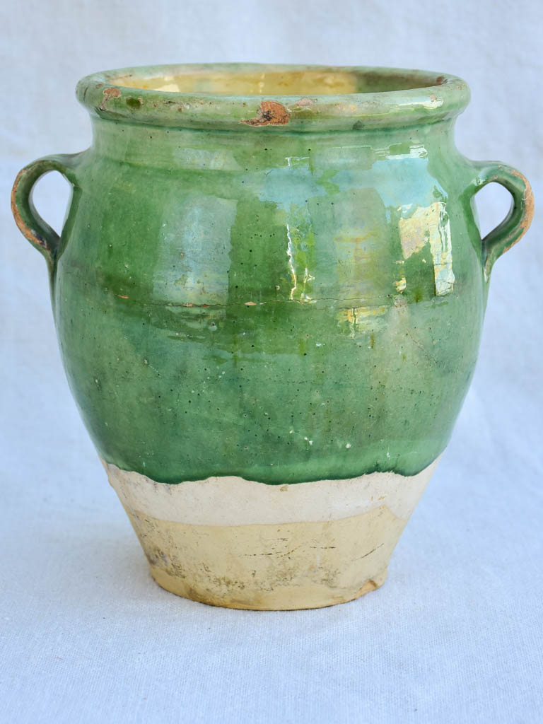 Early 20th century French confit pot with green glaze 8¼""
