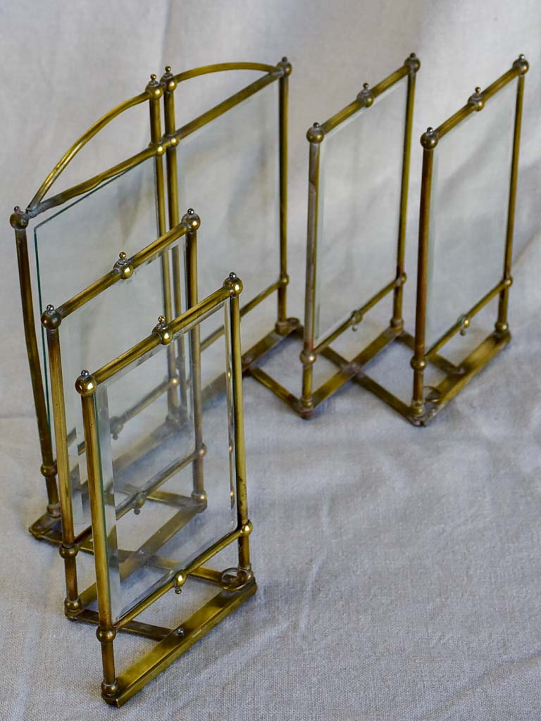 Rare Art Nouveau folding six photo frame - brass and glass