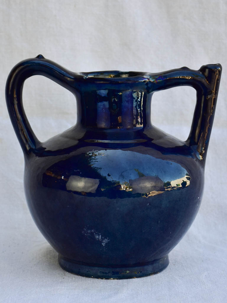 Very rare 19th century French water pitcher cruche orjol with blue glaze 9½""