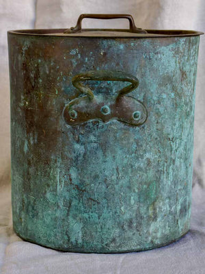 19th Century French copper cooking pot with lid 12¼""