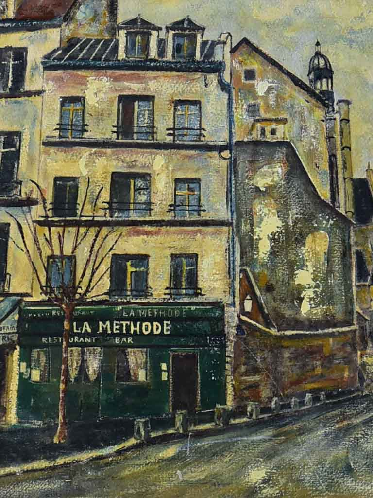 "Vintage painting of Paris, near the Sorbonne 22½"" x 16½"""