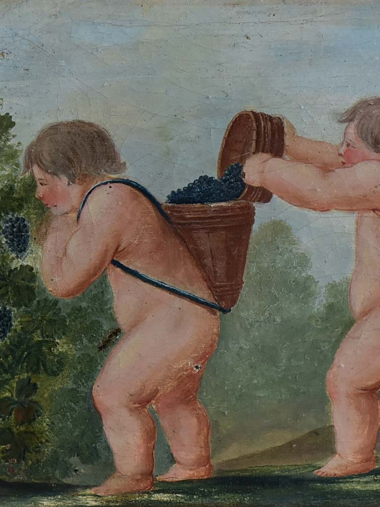 "Late 18th / early 19th Century painting of putti harvesting grapes 28¼"" x 13¾"""