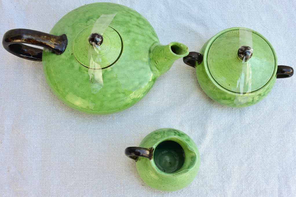 Tea service from Dieulefit with green glaze 8 cups 6 saucers teapot milk jug & sugar bowl