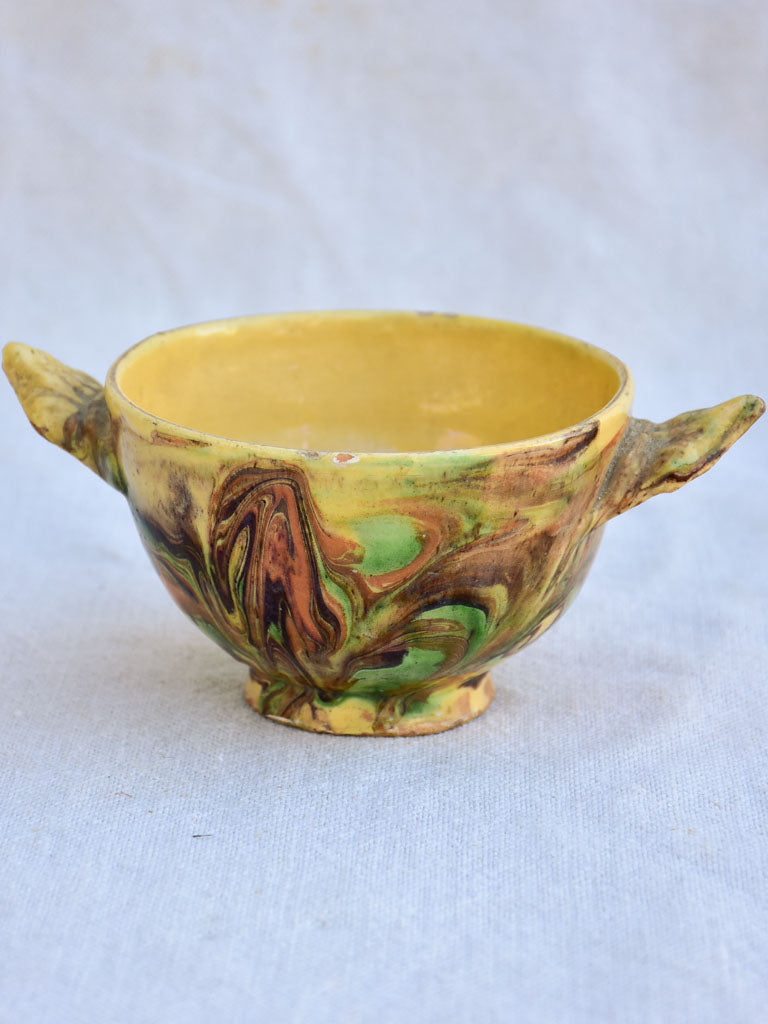 19th century French soup bowl from Savoy with marbleized glaze 4¼""