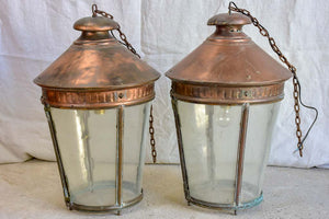 Large pair of French copper lanterns from the early 20th Century 26""
