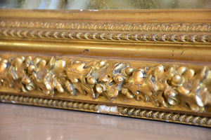 Large 19th century Louis Philippe gilded mirror with sculptural oak leaf frame