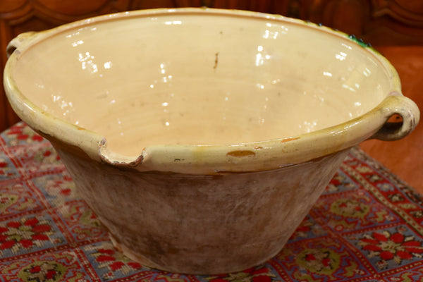 19th century French preserving bowl with yellow and green glaze