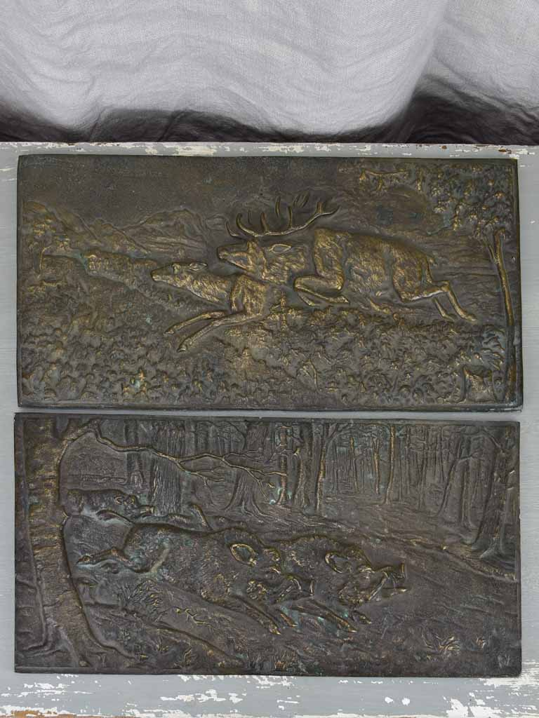 Two antique French bronze panels - hunting scenes