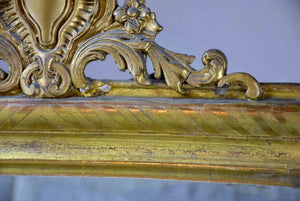 "19th Century Louis Philippe mirror with gold frame and crest 26"" x 35"""
