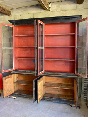 19th Century French bookcase with black paint finish 6' 9""