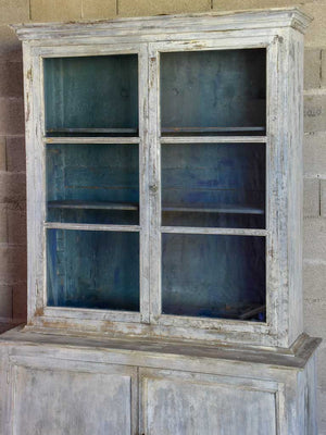 Late 19th Century French glass door cabinet / vitrine with grey and teal patina