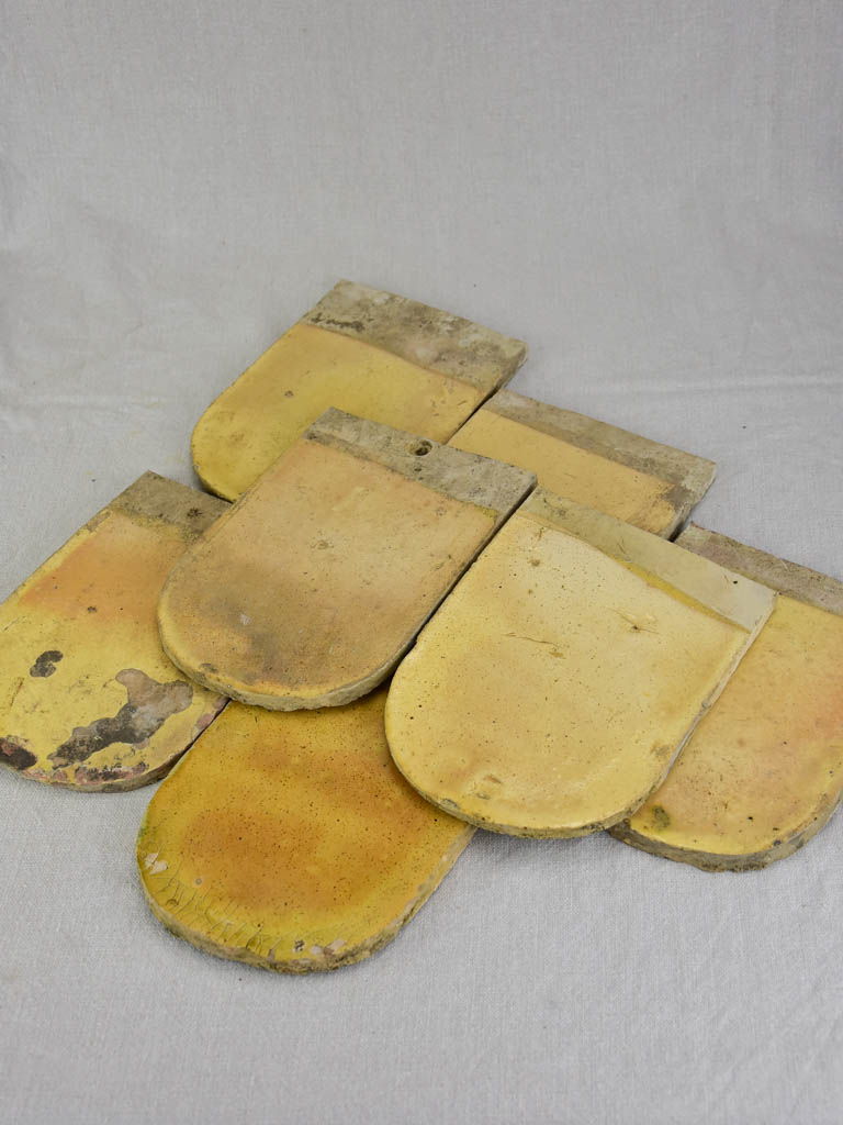 Collection of seven antique French glazed roof tiles from Burgundy 9""
