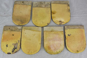 Collection of SIX antique French glazed roof tiles from Burgundy 9""