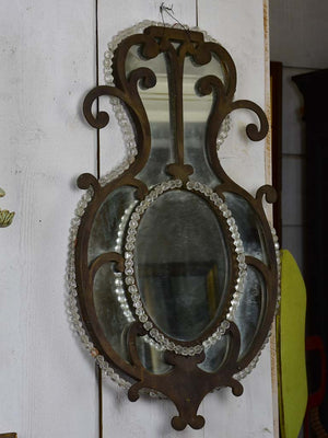 Pair of early 19th Century wrought iron Italian mirrors with beading