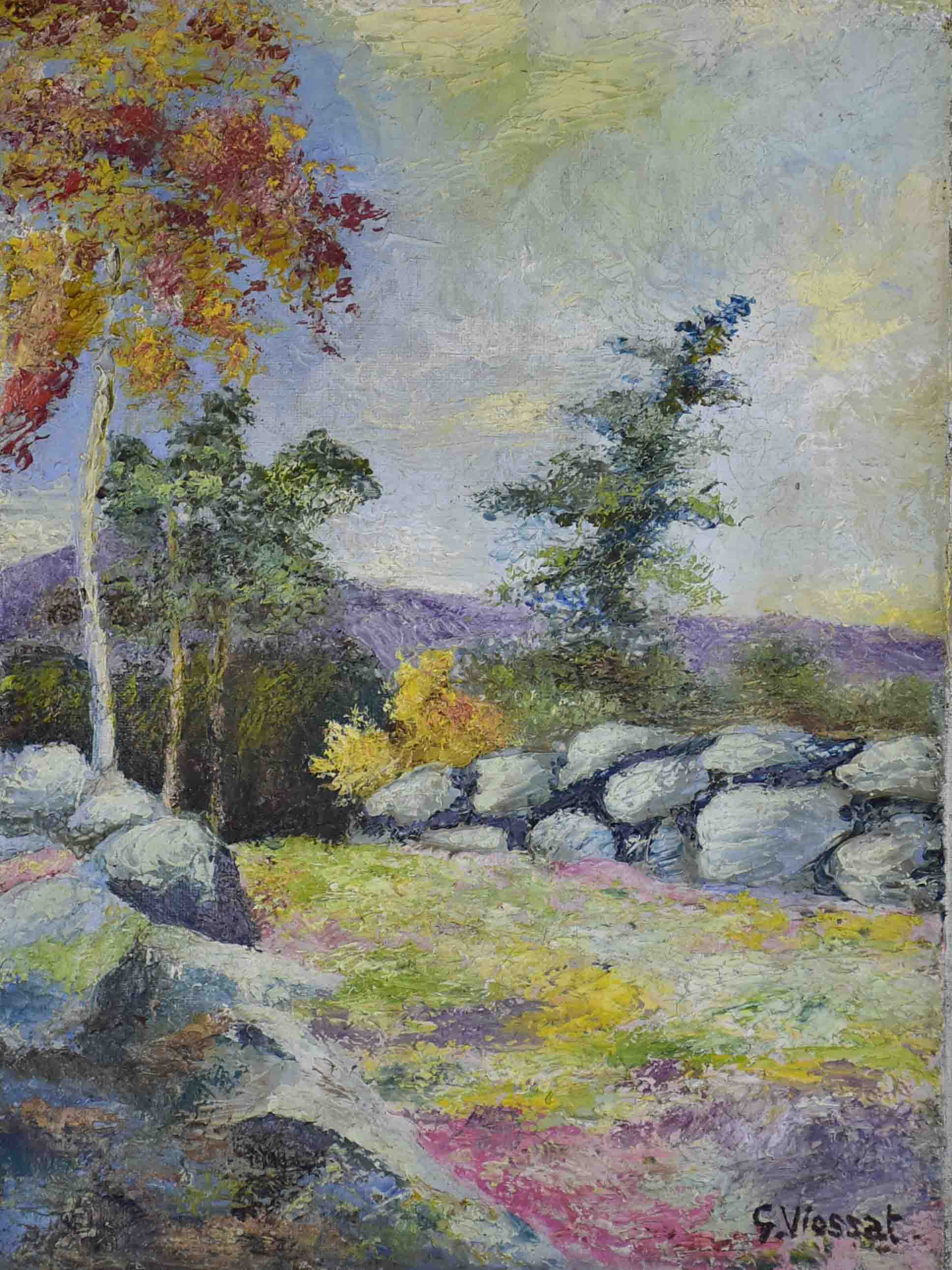 Small antique French painting of the fall countryside 21 ¼'' x 13""