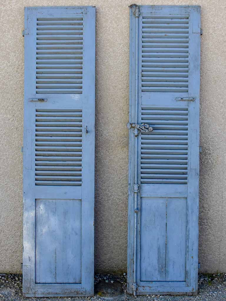 "Pair of early 19th Century French blue shutters 85½"" x 20¾"""