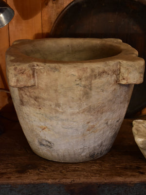 Very large antique marble mortar